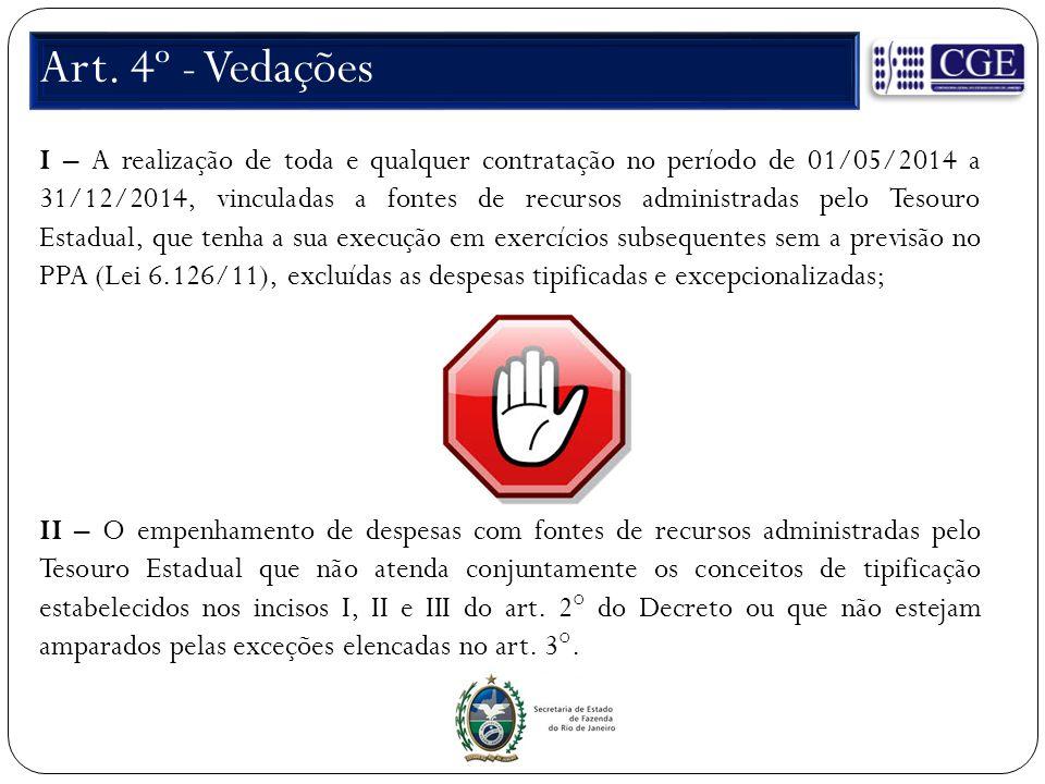 Art. 4º - Vedações I – A realização de toda e qualquer contratação no período de 01/05/2014 a 31/12/2014, vinculadas a fontes de recursos administrada