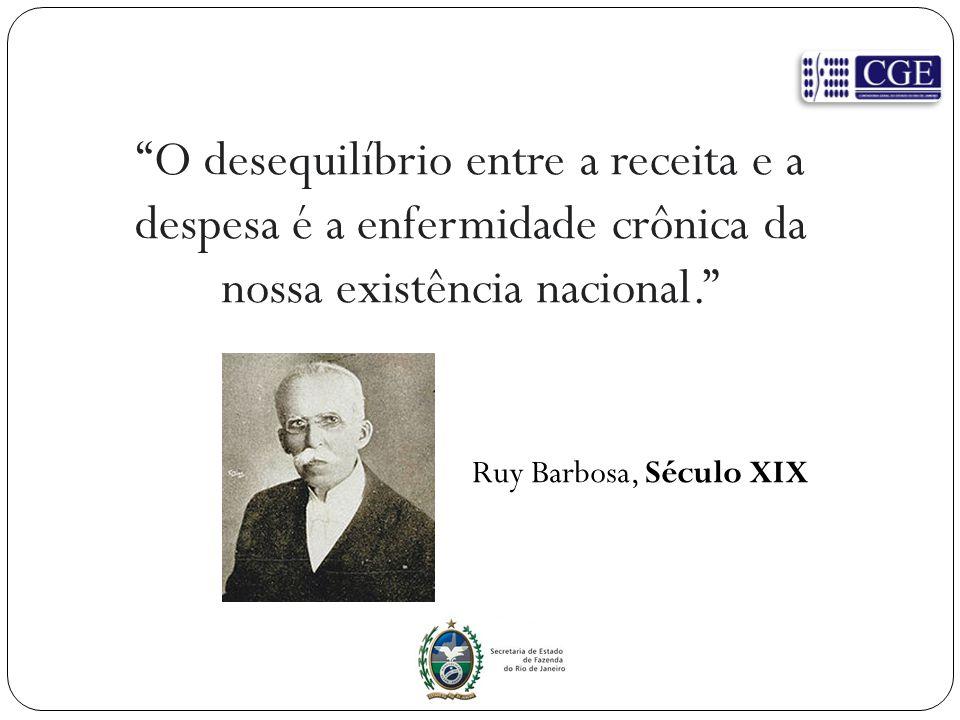 """O desequilíbrio entre a receita e a despesa é a enfermidade crônica da nossa existência nacional."" Ruy Barbosa, Século XIX"