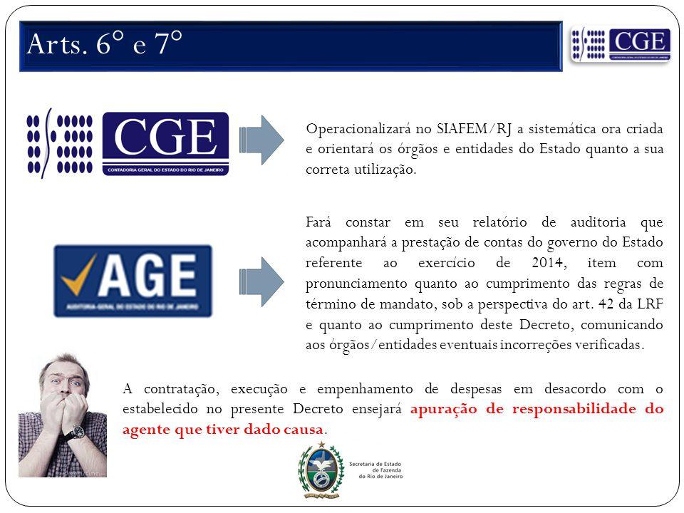 Arts. 6° e 7° Operacionalizará no SIAFEM/RJ a sistemática ora criada e orientará os órgãos e entidades do Estado quanto a sua correta utilização. Fará