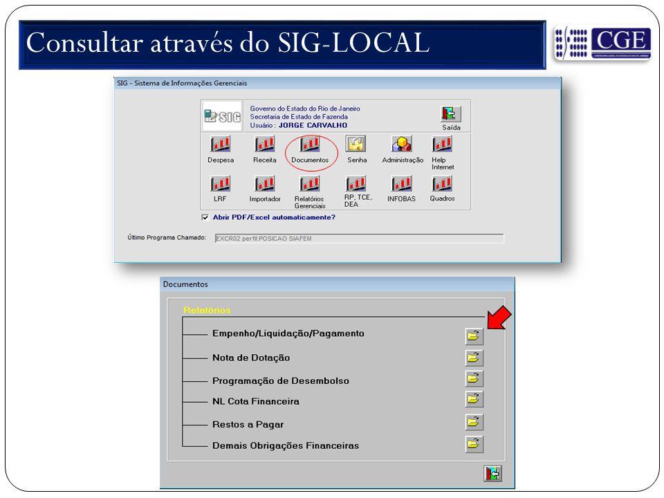 Consultar através do SIG-LOCAL