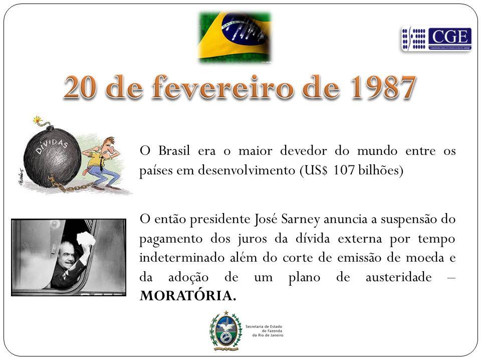 O Brasil era o maior devedor do mundo entre os países em desenvolvimento (US$ 107 bilhões) O então presidente José Sarney anuncia a suspensão do pagamento dos juros da dívida externa por tempo indeterminado além do corte de emissão de moeda e da adoção de um plano de austeridade – MORATÓRIA.
