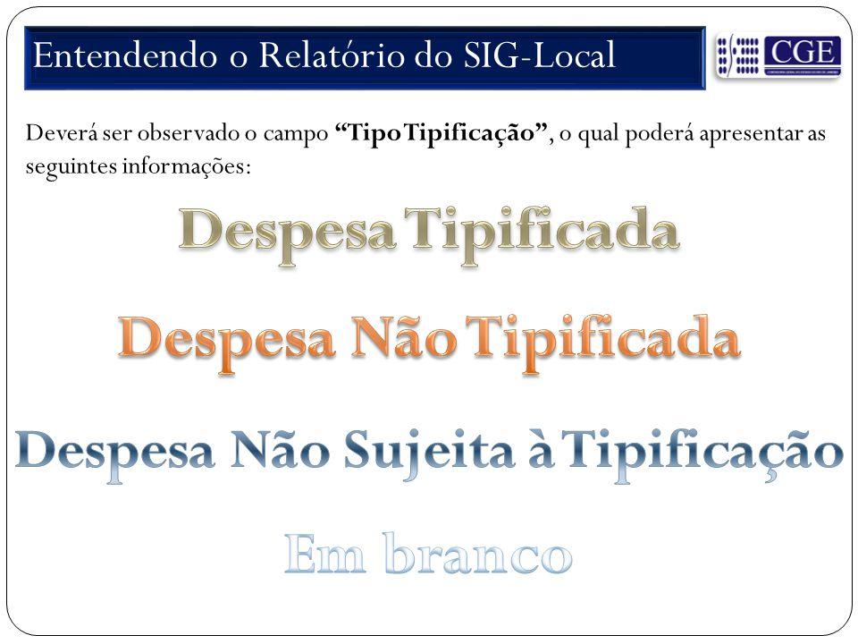 Entendendo o Relatório do SIG-Local Deverá ser observado o campo Tipo Tipificação , o qual poderá apresentar as seguintes informações: