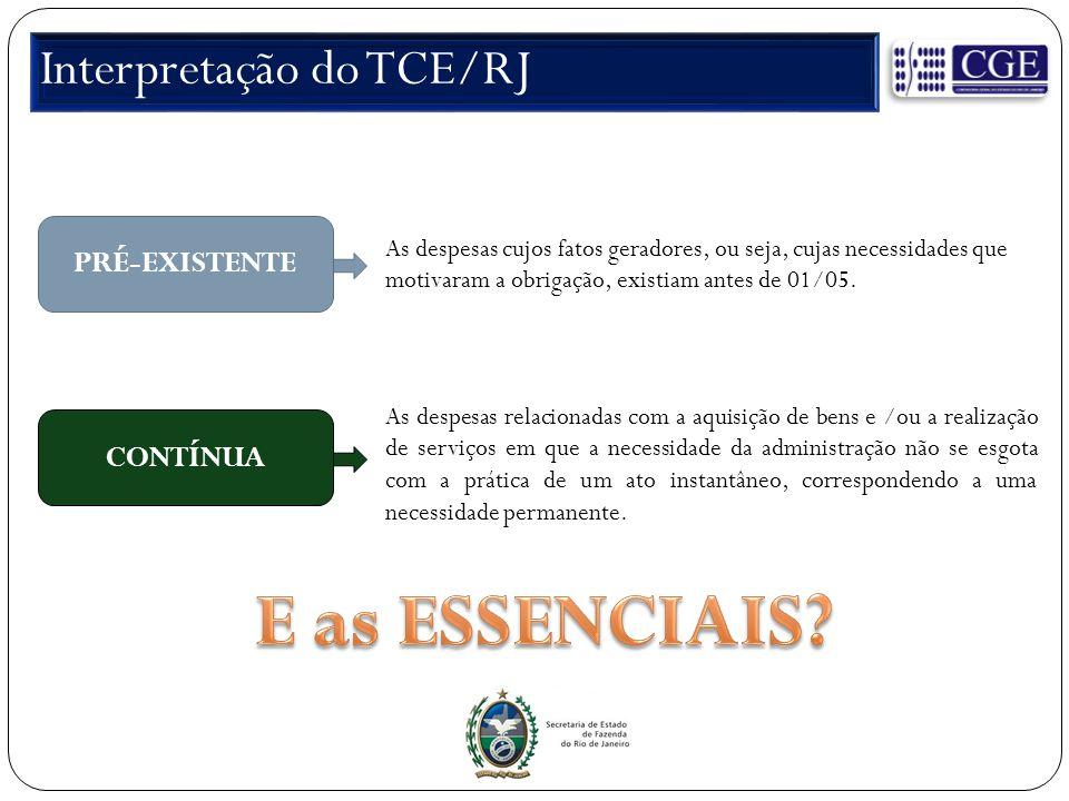 Interpretação do TCE/RJ PRÉ-EXISTENTE As despesas cujos fatos geradores, ou seja, cujas necessidades que motivaram a obrigação, existiam antes de 01/05.