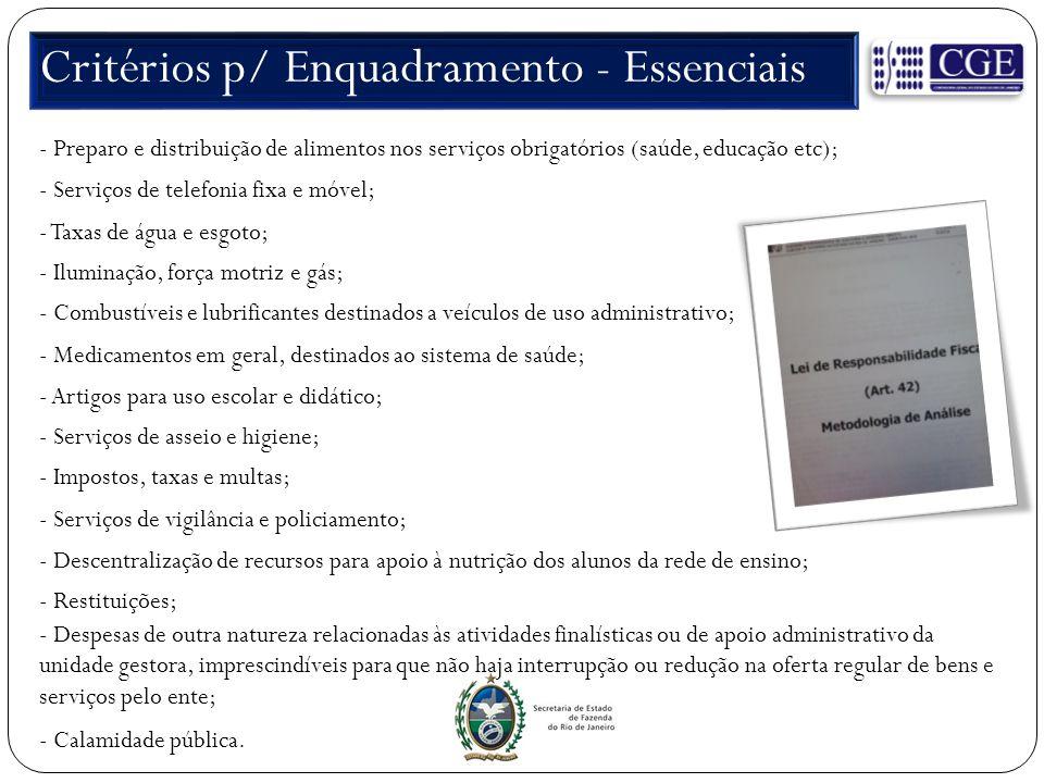 Critérios p/ Enquadramento - Essenciais - Preparo e distribuição de alimentos nos serviços obrigatórios (saúde, educação etc); - Serviços de telefonia
