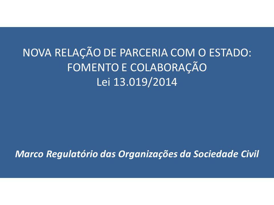 NOVA RELAÇÃO DE PARCERIA COM O ESTADO: FOMENTO E COLABORAÇÃO Lei 13.019/2014 Marco Regulatório das Organizações da Sociedade Civil