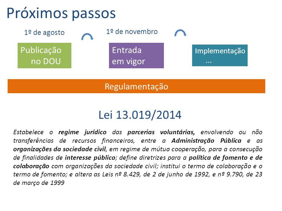 Publicação no DOU Entrada em vigor Próximos passos 1º de agosto 1º de novembro Regulamentação Estabelece o regime jurídico das parcerias voluntárias,