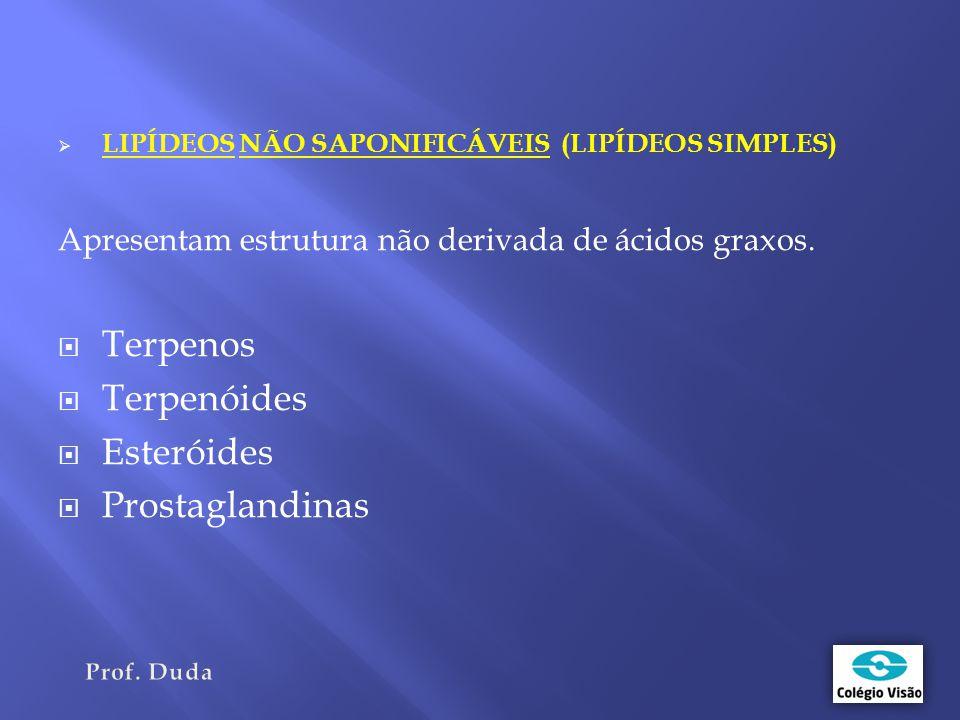  LIPÍDEOS NÃO SAPONIFICÁVEIS (LIPÍDEOS SIMPLES) Apresentam estrutura não derivada de ácidos graxos.