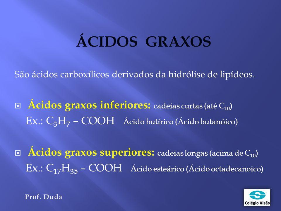 ÁCIDOS GRAXOS São ácidos carboxílicos derivados da hidrólise de lipídeos.