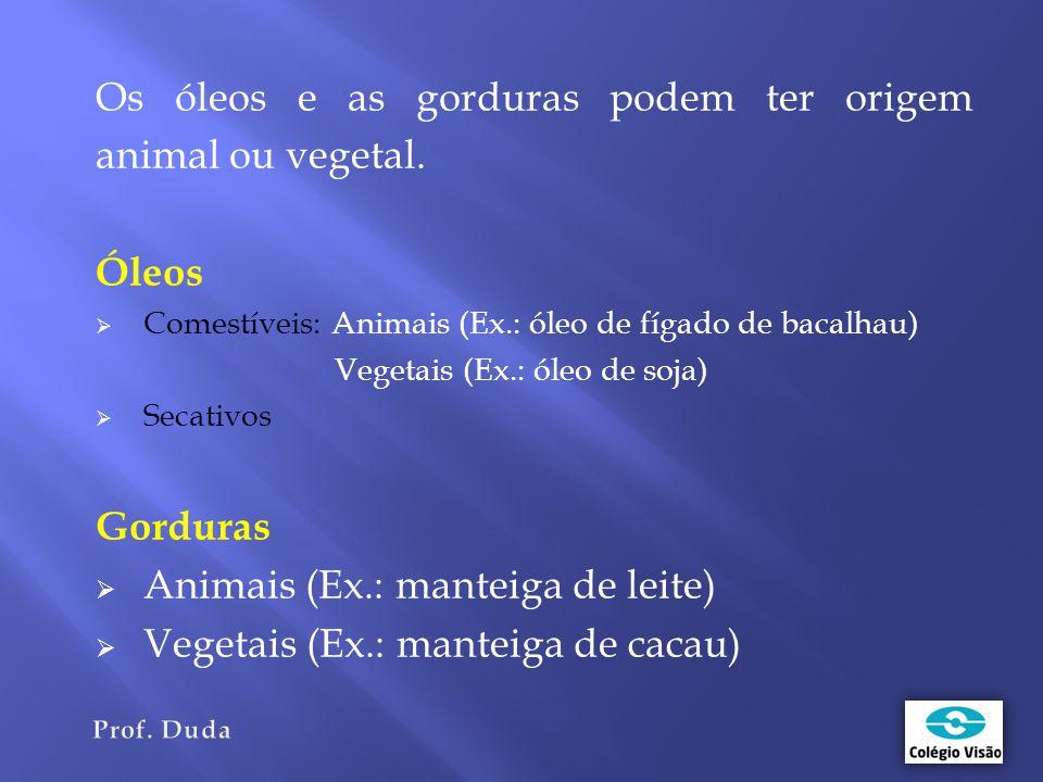 Os óleos e as gorduras podem ter origem animal ou vegetal.