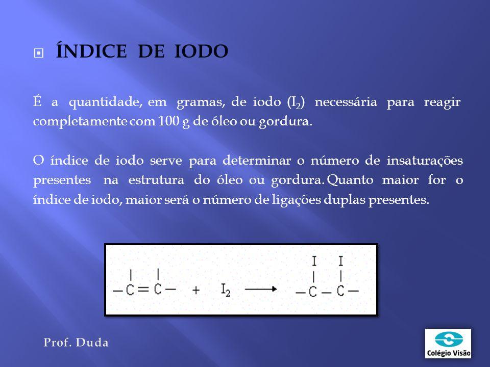  ÍNDICE DE IODO É a quantidade, em gramas, de iodo (I 2 ) necessária para reagir completamente com 100 g de óleo ou gordura.