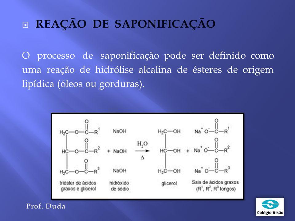  REAÇÃO DE SAPONIFICAÇÃO O processo de saponificação pode ser definido como uma reação de hidrólise alcalina de ésteres de origem lipídica (óleos ou gorduras).