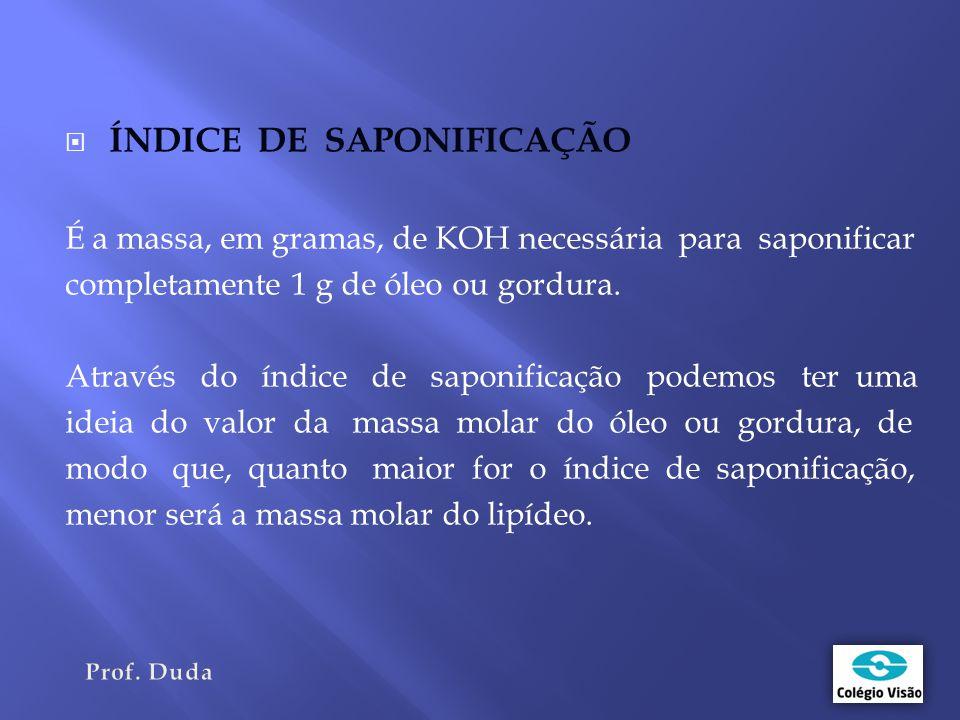  ÍNDICE DE SAPONIFICAÇÃO É a massa, em gramas, de KOH necessária para saponificar completamente 1 g de óleo ou gordura.