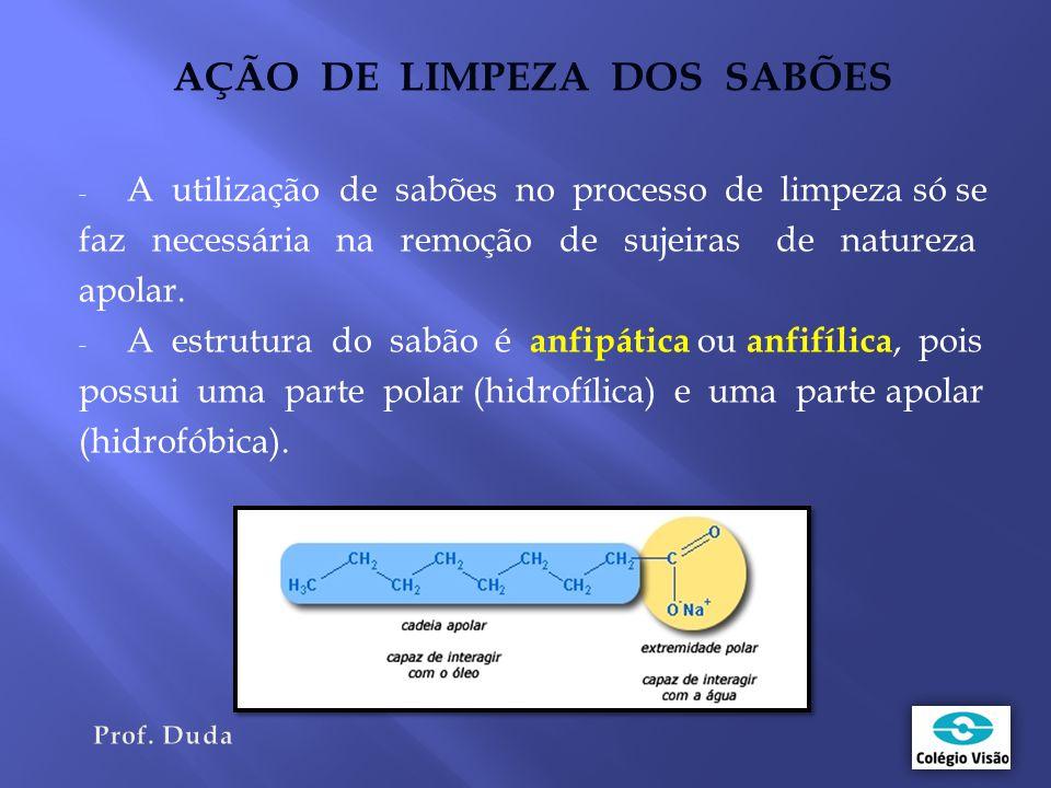 AÇÃO DE LIMPEZA DOS SABÕES - A utilização de sabões no processo de limpeza só se faz necessária na remoção de sujeiras de natureza apolar.