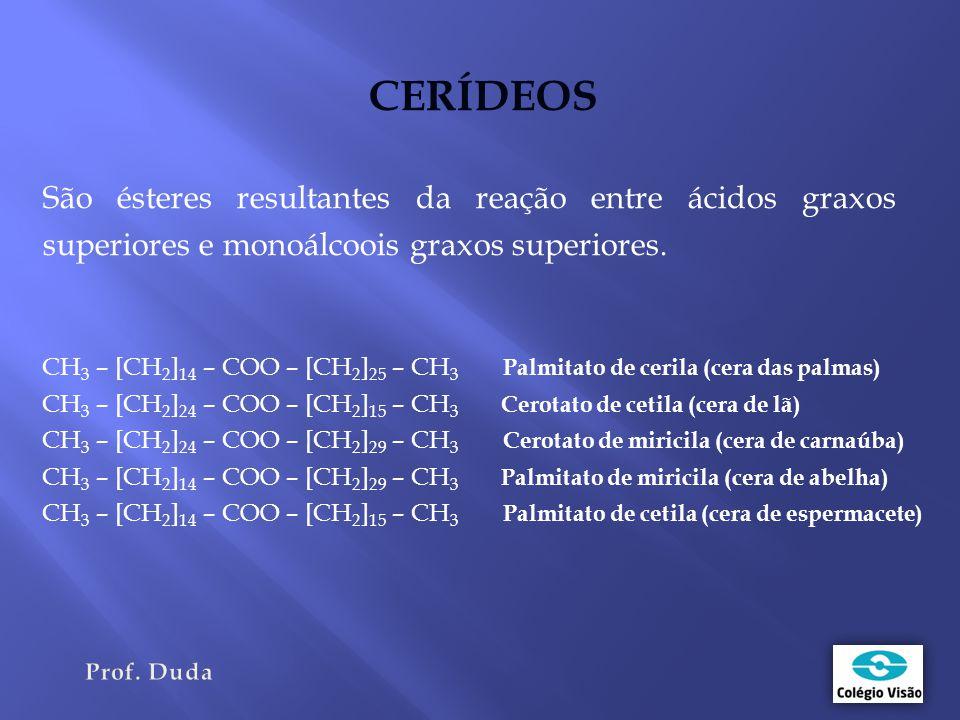 CERÍDEOS São ésteres resultantes da reação entre ácidos graxos superiores e monoálcoois graxos superiores.