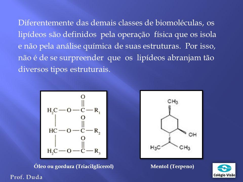 Diferentemente das demais classes de biomoléculas, os lipídeos são definidos pela operação física que os isola e não pela análise química de suas estruturas.