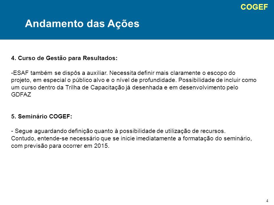 COGEF 4 Andamento das Ações 4. Curso de Gestão para Resultados: -ESAF também se dispôs a auxiliar.