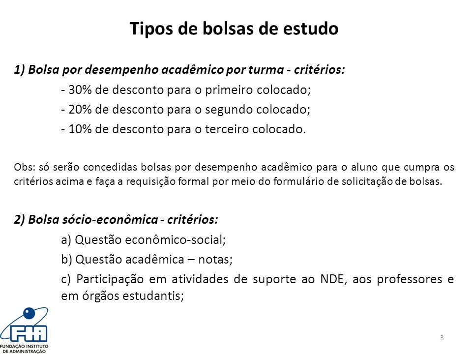 Tipos de bolsas de estudo 1) Bolsa por desempenho acadêmico por turma - critérios: - 30% de desconto para o primeiro colocado; - 20% de desconto para o segundo colocado; - 10% de desconto para o terceiro colocado.