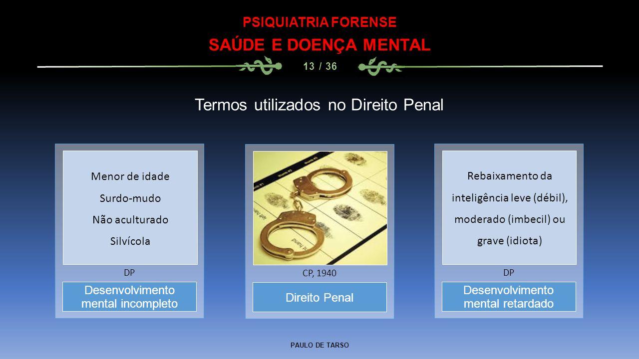PAULO DE TARSO PSIQUIATRIA FORENSE SAÚDE E DOENÇA MENTAL 13 / 36 Termos utilizados no Direito Penal Direito Penal CP, 1940 Desenvolvimento mental inco