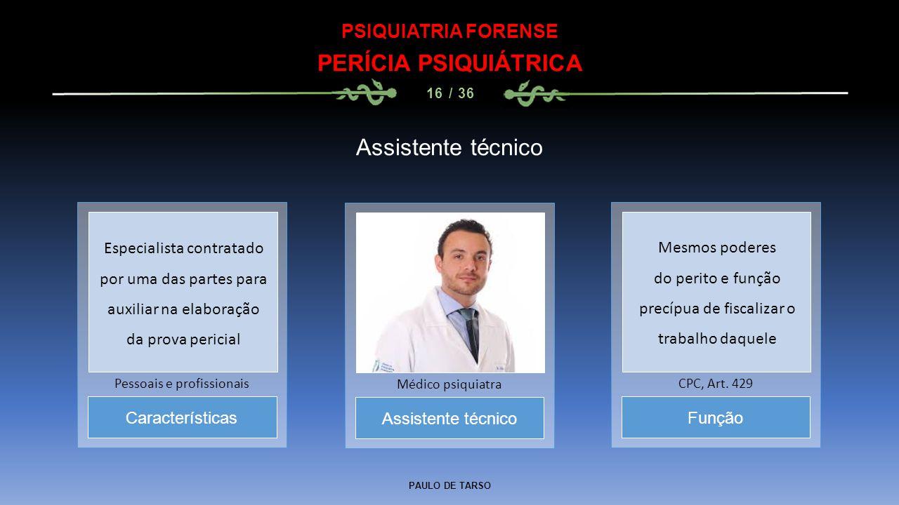 PAULO DE TARSO PSIQUIATRIA FORENSE PERÍCIA PSIQUIÁTRICA 16 / 36 Assistente técnico Médico psiquiatra Características Pessoais e profissionais Função C