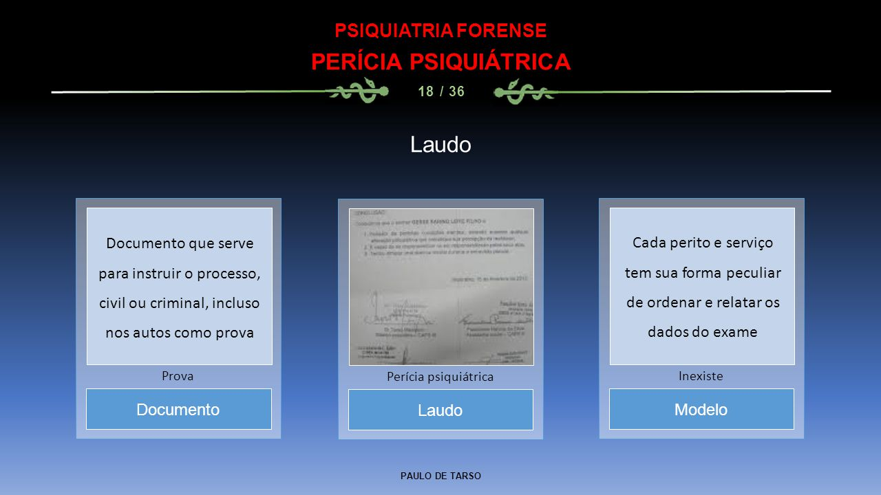 PAULO DE TARSO PSIQUIATRIA FORENSE PERÍCIA PSIQUIÁTRICA 18 / 36 Laudo Perícia psiquiátrica Documento Prova Modelo Inexiste Documento que serve para in