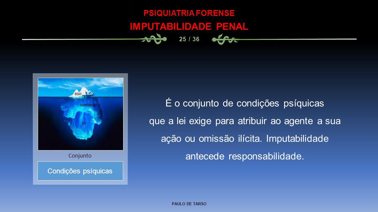 PAULO DE TARSO PSIQUIATRIA FORENSE IMPUTABILIDADE PENAL 25 / 36 É o conjunto de condições psíquicas que a lei exige para atribuir ao agente a sua ação