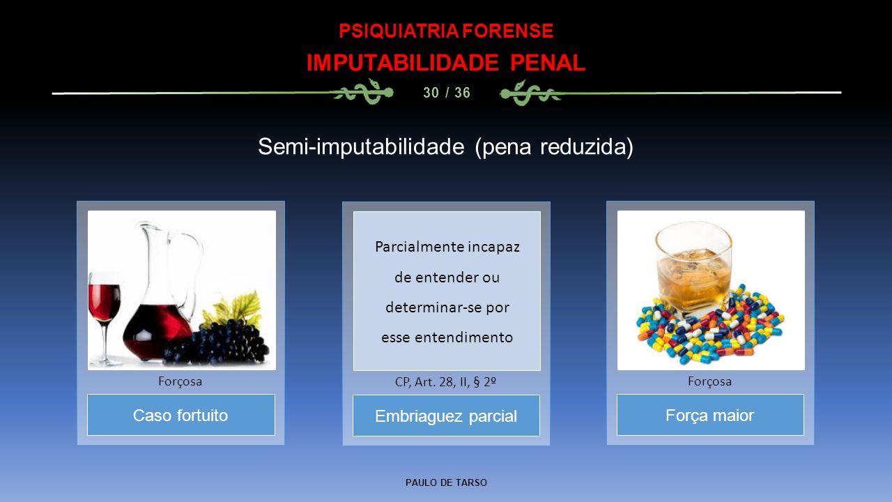 PAULO DE TARSO PSIQUIATRIA FORENSE IMPUTABILIDADE PENAL 30 / 36 Semi-imputabilidade (pena reduzida) Embriaguez parcial CP, Art. 28, II, § 2º Caso fort