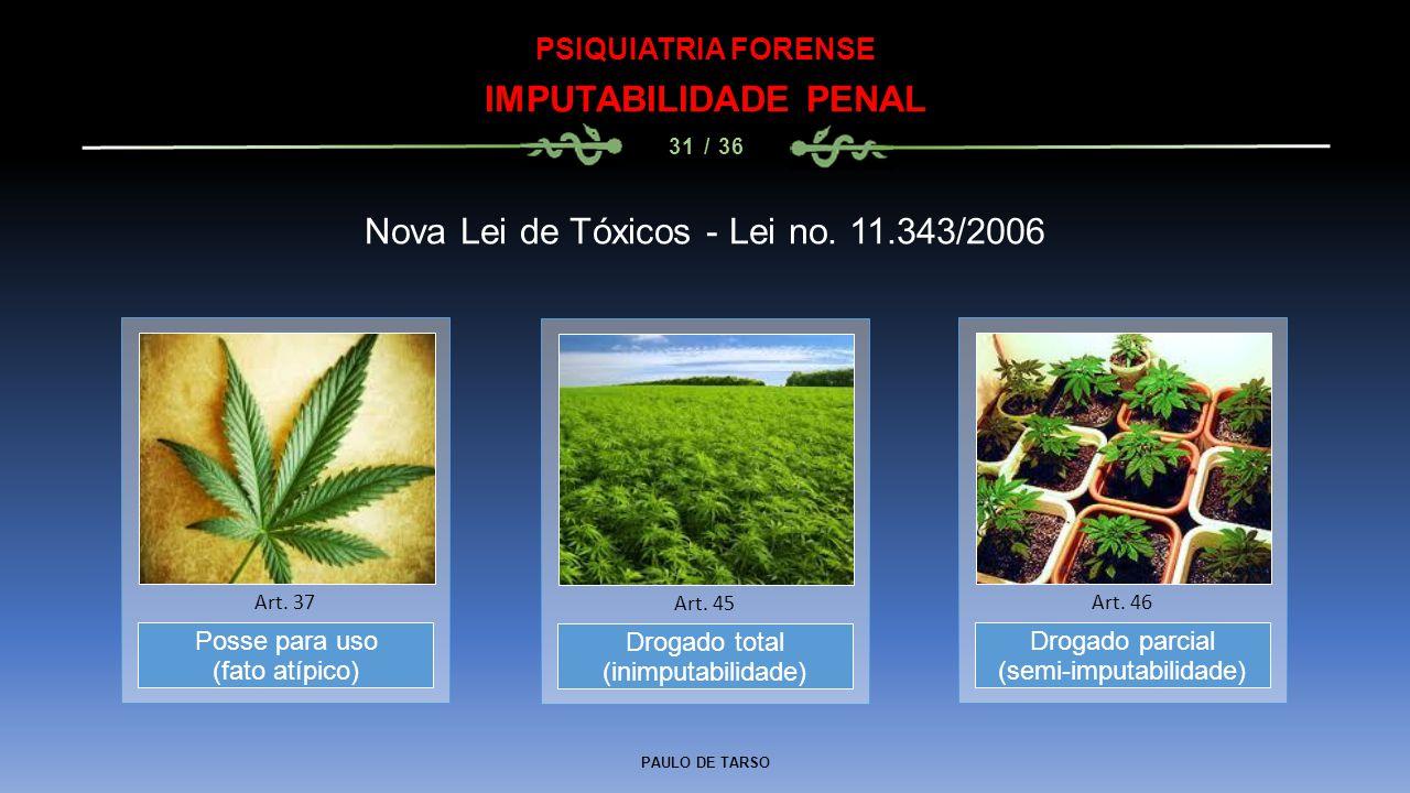 PAULO DE TARSO PSIQUIATRIA FORENSE IMPUTABILIDADE PENAL 31 / 36 Nova Lei de Tóxicos - Lei no. 11.343/2006 Drogado total (inimputabilidade) Art. 45 Pos