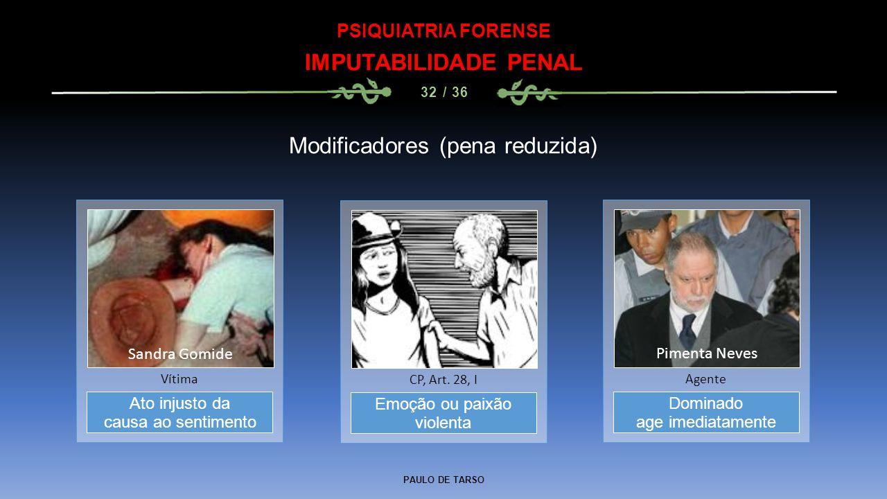 PAULO DE TARSO PSIQUIATRIA FORENSE IMPUTABILIDADE PENAL 32 / 36 Modificadores (pena reduzida) Emoção ou paixão violenta CP, Art. 28, I Ato injusto da