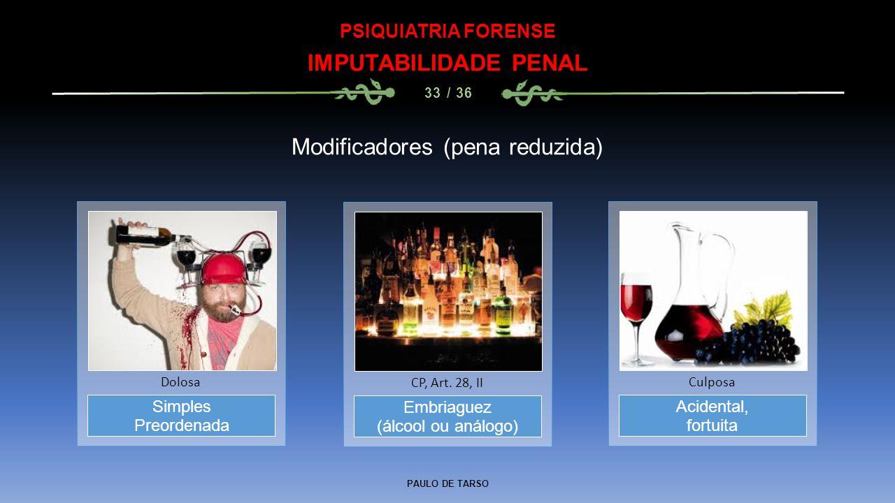 PAULO DE TARSO PSIQUIATRIA FORENSE IMPUTABILIDADE PENAL 33 / 36 Modificadores (pena reduzida) Embriaguez (álcool ou análogo) CP, Art. 28, II Simples P