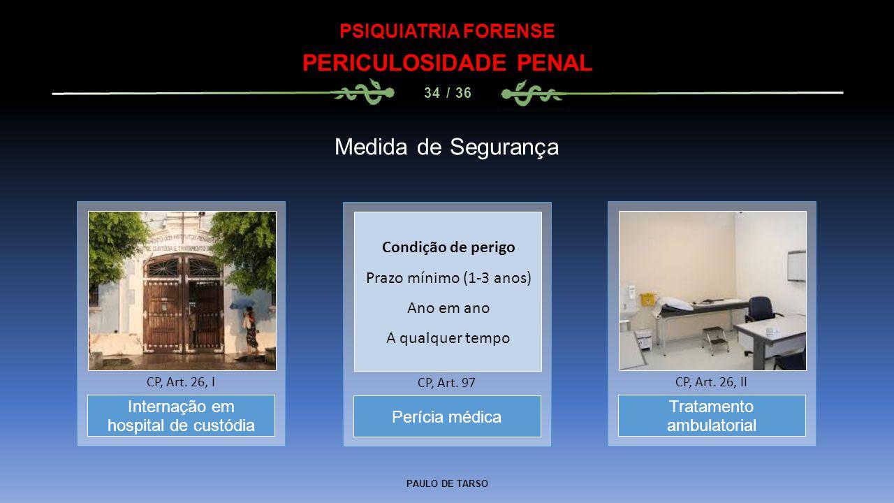 PAULO DE TARSO PSIQUIATRIA FORENSE PERICULOSIDADE PENAL 34 / 36 Medida de Segurança Perícia médica CP, Art. 97 Internação em hospital de custódia CP,