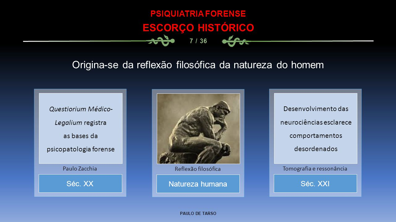 PAULO DE TARSO PSIQUIATRIA FORENSE ESCORÇO HISTÓRICO 7 / 36 Origina-se da reflexão filosófica da natureza do homem Natureza humana Reflexão filosófica
