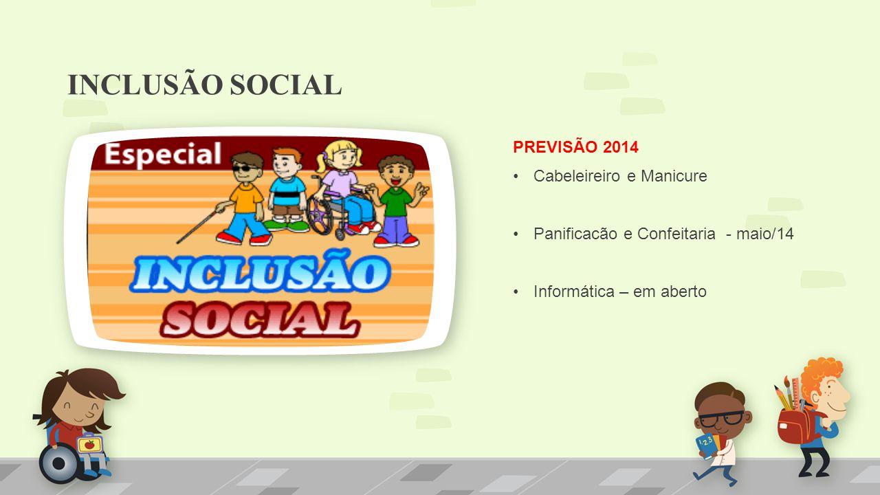 INCLUSÃO SOCIAL PREVISÃO 2014 Cabeleireiro e Manicure Panificacão e Confeitaria - maio/14 Informática – em aberto NOTE: To change images on this slide