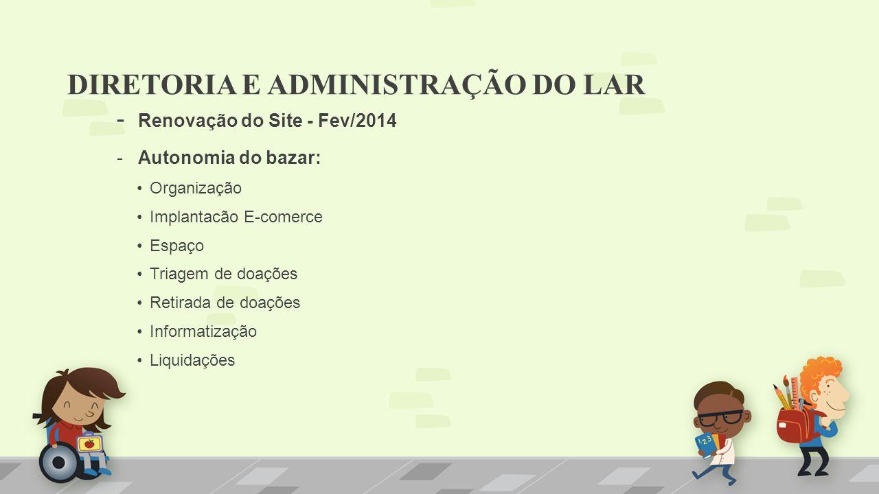 - Renovação do Site - Fev/2014 - Autonomia do bazar: Organização Implantacão E-comerce Espaço Triagem de doações Retirada de doações Informatização Li