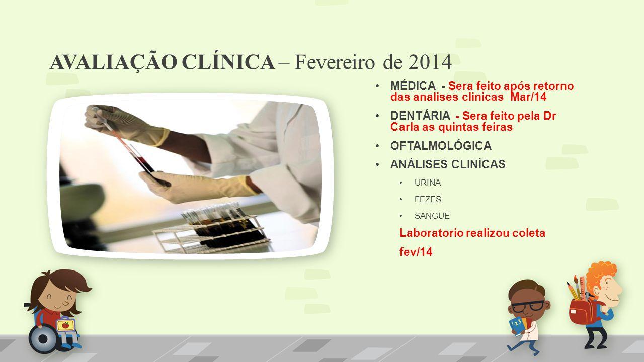 AVALIAÇÃO CLÍNICA – Fevereiro de 2014 MÉDICA - Sera feito após retorno das analises clinicas Mar/14 DENTÁRIA - Sera feito pela Dr Carla as quintas fei