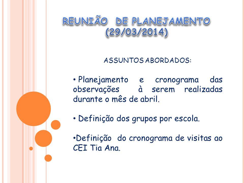 ASSUNTOS ABORDADOS: Planejamento e cronograma das observações à serem realizadas durante o mês de abril.