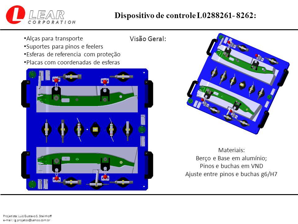 Projetista: Luiz Gustavo S. Steinhoff e-mail: lg.projetos@yahoo.com.br Dispositivo de controle L0288261- 8262: Visão Geral: Materiais: Berço e Base em