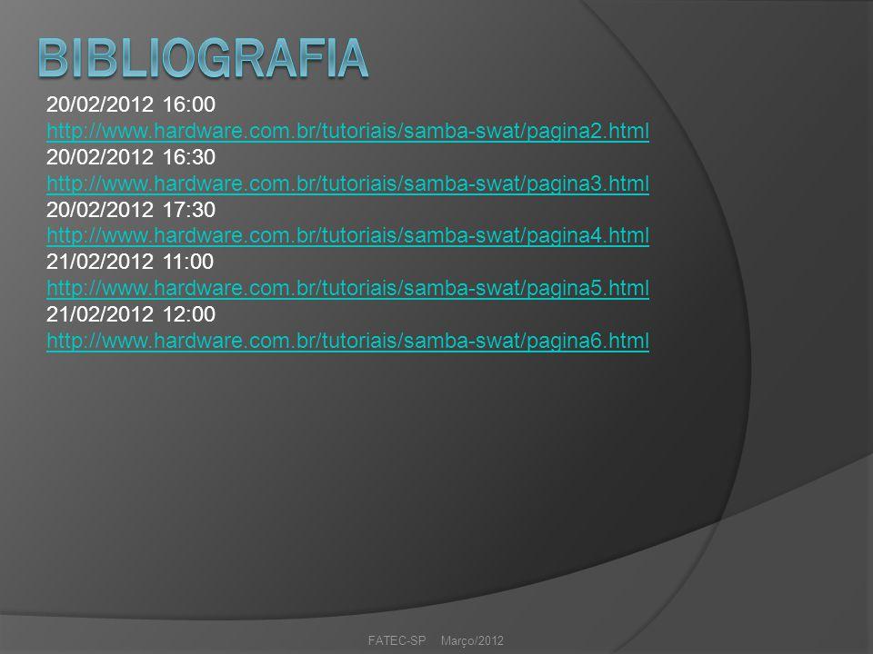 20/02/2012 16:00 http://www.hardware.com.br/tutoriais/samba-swat/pagina2.html 20/02/2012 16:30 http://www.hardware.com.br/tutoriais/samba-swat/pagina3.html 20/02/2012 17:30 http://www.hardware.com.br/tutoriais/samba-swat/pagina4.html 21/02/2012 11:00 http://www.hardware.com.br/tutoriais/samba-swat/pagina5.html 21/02/2012 12:00 http://www.hardware.com.br/tutoriais/samba-swat/pagina6.html