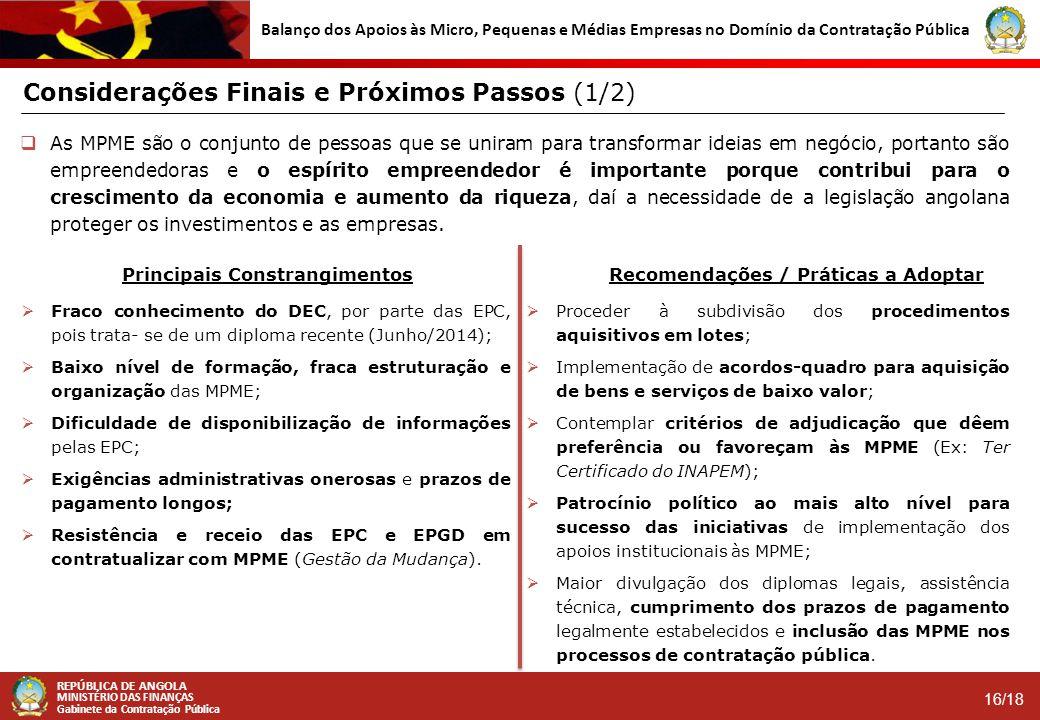 REPÚBLICA DE ANGOLA MINISTÉRIO DAS FINANÇAS Gabinete da Contratação Pública 16/18 Balanço dos Apoios às Micro, Pequenas e Médias Empresas no Domínio d