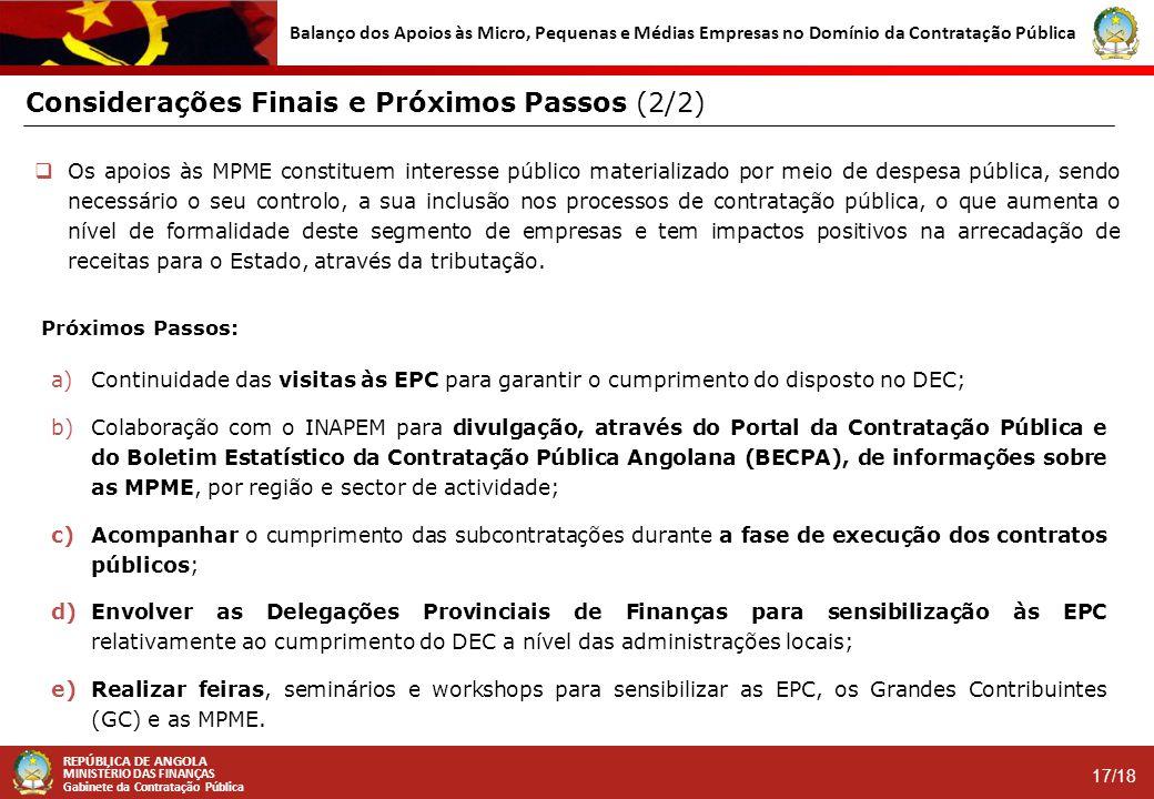 REPÚBLICA DE ANGOLA MINISTÉRIO DAS FINANÇAS Gabinete da Contratação Pública 17/18 Balanço dos Apoios às Micro, Pequenas e Médias Empresas no Domínio d