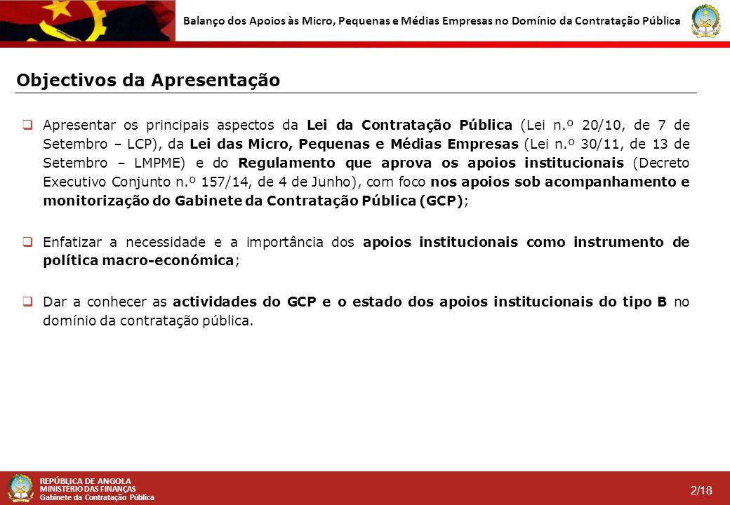 REPÚBLICA DE ANGOLA MINISTÉRIO DAS FINANÇAS Gabinete da Contratação Pública 2/18 Balanço dos Apoios às Micro, Pequenas e Médias Empresas no Domínio da