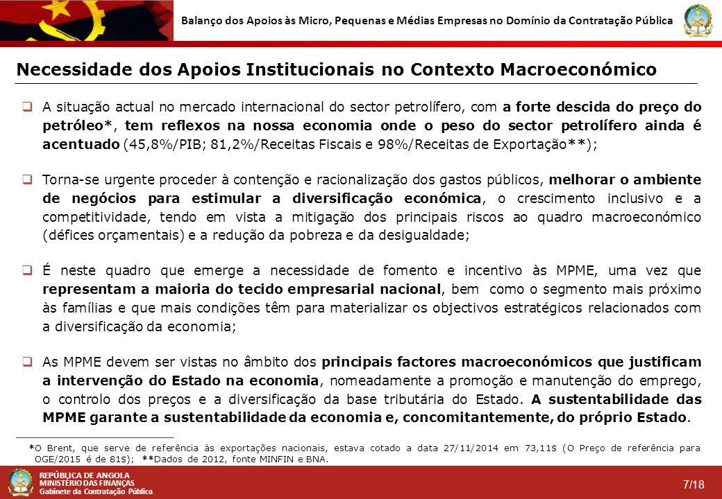 REPÚBLICA DE ANGOLA MINISTÉRIO DAS FINANÇAS Gabinete da Contratação Pública 7/18 Balanço dos Apoios às Micro, Pequenas e Médias Empresas no Domínio da