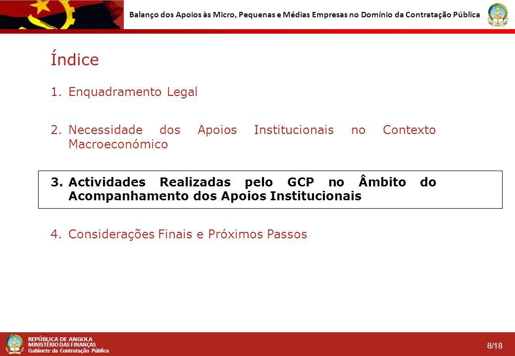 REPÚBLICA DE ANGOLA MINISTÉRIO DAS FINANÇAS Gabinete da Contratação Pública 9/18 Balanço dos Apoios às Micro, Pequenas e Médias Empresas no Domínio da Contratação Pública Acompanhamento dos Apoios Institucionais pelo GCP (1/5)  No 3º Trimestre/2014, o GCP efectuou a análise de 29 Procedimentos de Contratação Pública (PCP) lançados pelas Entidades Públicas Contratantes (EPC), tendo recomendado em todos eles a observância dos apoios institucionais estabelecidos na LMPME e no DEC.
