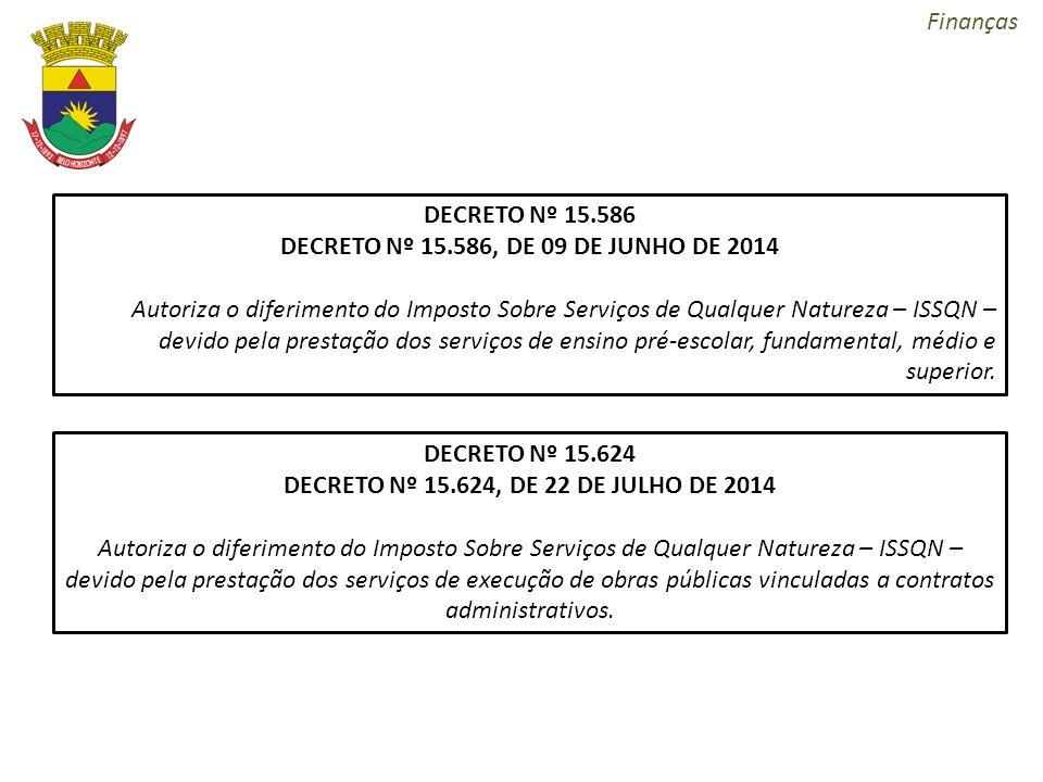 Finanças DECRETO Nº 15.586 DECRETO Nº 15.586, DE 09 DE JUNHO DE 2014 Autoriza o diferimento do Imposto Sobre Serviços de Qualquer Natureza – ISSQN – d