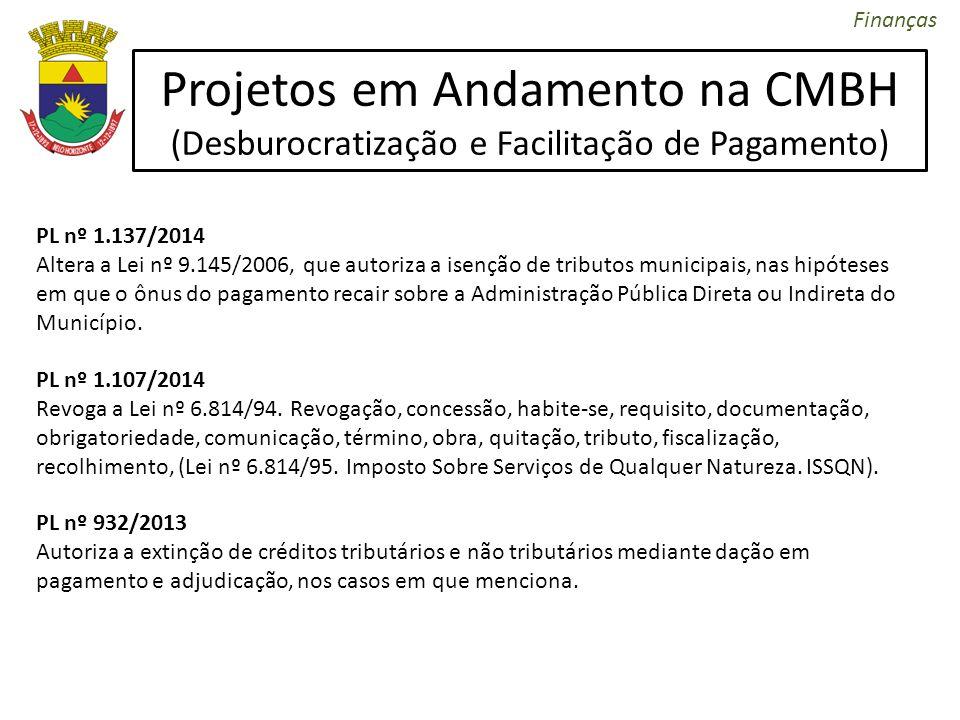 Projetos em Andamento na CMBH (Desburocratização e Facilitação de Pagamento) PL nº 1.137/2014 Altera a Lei nº 9.145/2006, que autoriza a isenção de tr