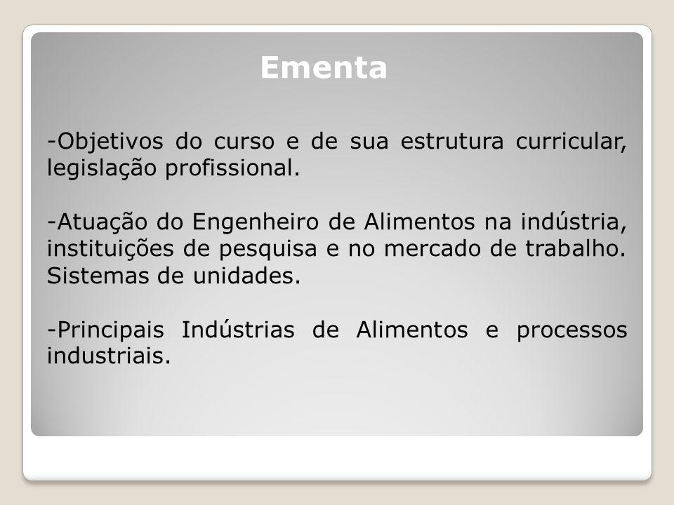 Ementa -Objetivos do curso e de sua estrutura curricular, legislação profissional.