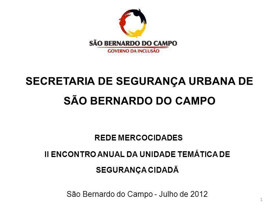 SECRETARIA DE SEGURANÇA URBANA DE SÃO BERNARDO DO CAMPO REDE MERCOCIDADES II ENCONTRO ANUAL DA UNIDADE TEMÁTICA DE SEGURANÇA CIDADÃ São Bernardo do Ca
