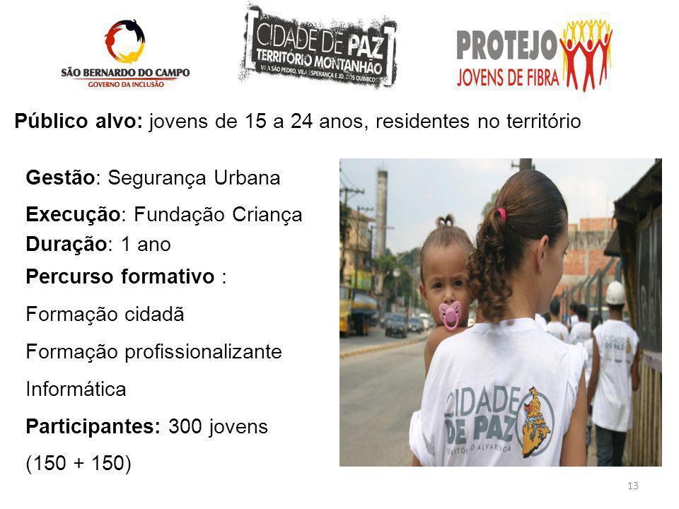 13 Público alvo: jovens de 15 a 24 anos, residentes no território Gestão: Segurança Urbana Execução: Fundação Criança Duração: 1 ano Percurso formativ