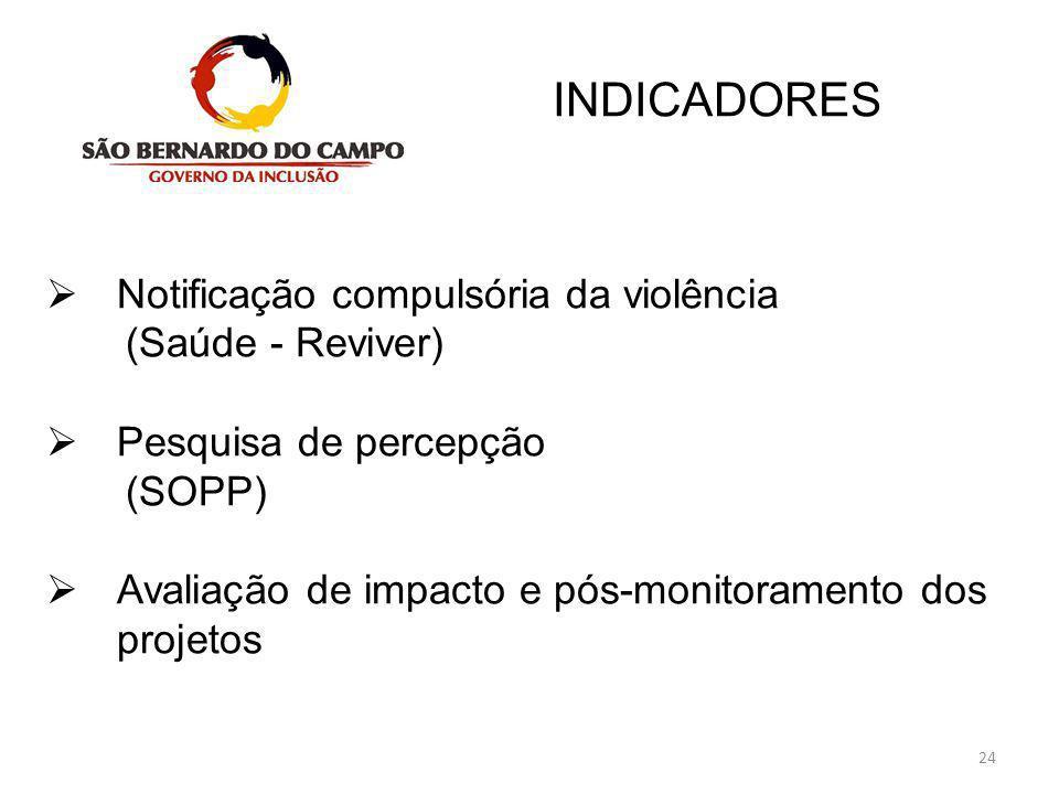 24 INDICADORES   Notificação compulsória da violência (Saúde - Reviver)  Pesquisa de percepção (SOPP)  Avaliação de impacto e pós-monitoramento do
