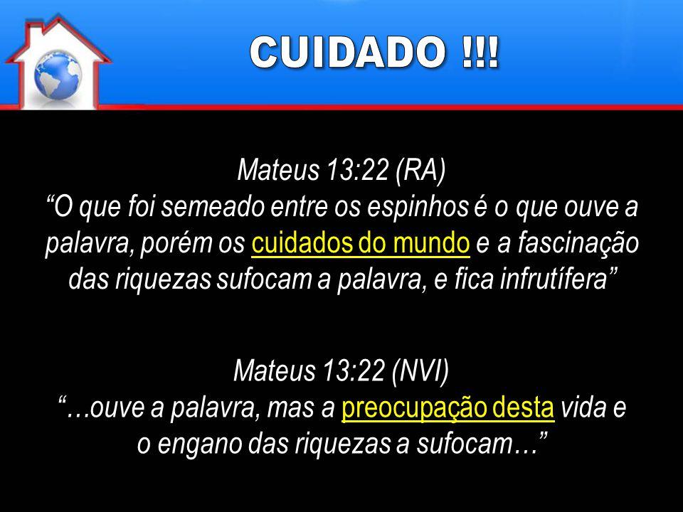 """Mateus 13:22 (RA) """"O que foi semeado entre os espinhos é o que ouve a palavra, porém os cuidados do mundo e a fascinação das riquezas sufocam a palavr"""