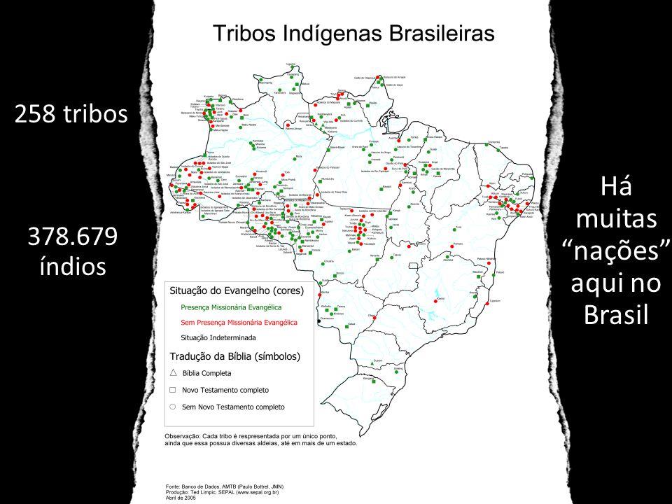 """258 tribos Há muitas """"nações"""" aqui no Brasil 378.679 índios"""